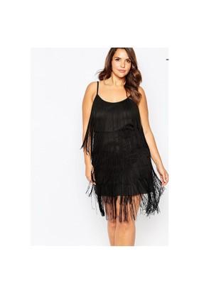 Melisita Goddes Büyük Beden Siyah Elbise