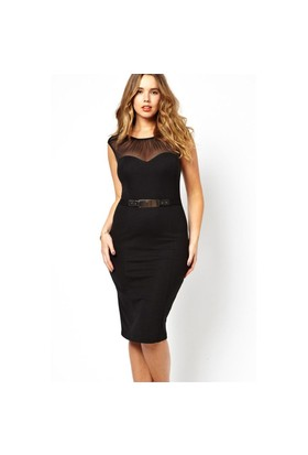 Melisita Herve Büyük Beden Siyah Elbise