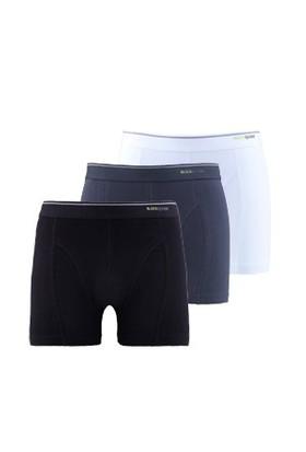 Blackspade Tender Cotton Erkek Boxer 3lü Paket 9673 Beyaz-Siyah-Antrasit