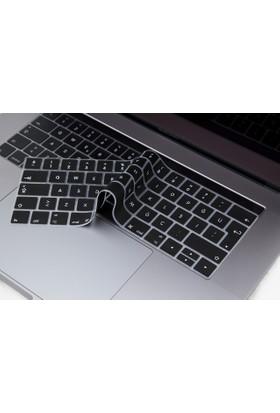 Macstorey Apple Yeni Macbook Pro A1706 13 A1707 15 Toucbarlı Q Klavye Koruyucu Kapağı Silikonlu Kılıf Türkçe Baskı TR
