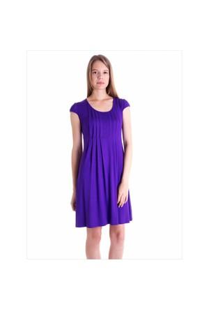 Ayyıldız 59472 Mor Pileli Elbise