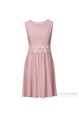 Bodyflirt Pembe Dantel Detaylı Elbise 34-54 Beden
