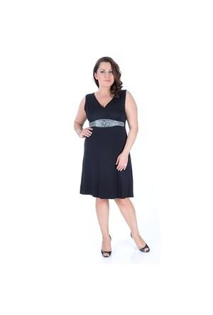 Tepa Siyah Taşlı Elbise