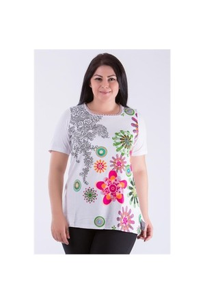 Megan Beyaz Çiçekli Bluz 01000116-04