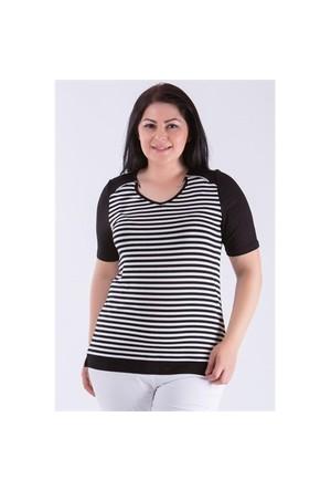 Megan Siyah Beyaz Çizgili Bluz 01000116-09