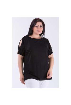 Megan Siyah Taşlı Bluz 01000116-16