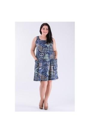 Tepa Mavi Yeşil Cepli Elbise 01000112-80