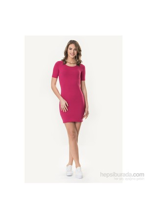 So Sugar Fuşya 3/4 Kısa Kol Mini Elbise