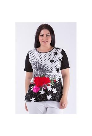 Megan Siyah Puzzle Bluz 01000116-19