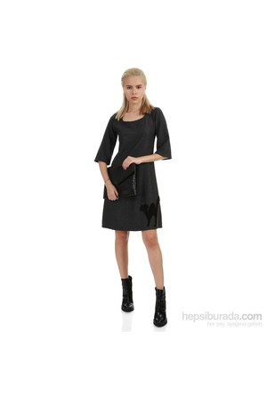 Demoda Gri Patchli Elbise