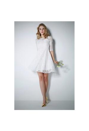 Ervans Dantel Kloş Elbise Beyaz