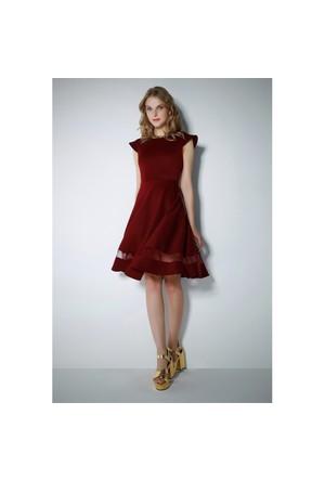 Ervans Eteği Tül Kloş Elbise Bordo