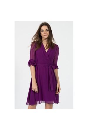 İroni İspanyol Kol Sıklamen Şifon Elbise