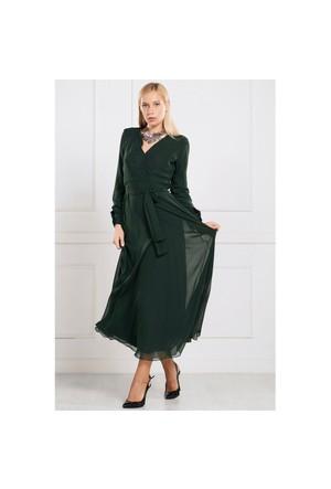 İroni Uzun Zümrüt Şifon Elbise