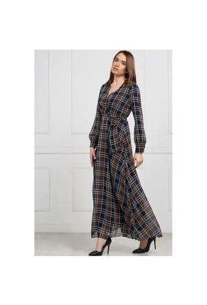 İroni Ekose Desenli Uzun Lacivert Elbise