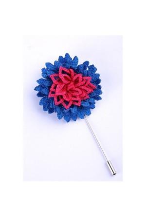 La Pescara Mavi-Pembe Özel Tasarım Yaka Çiçeği Yc0088