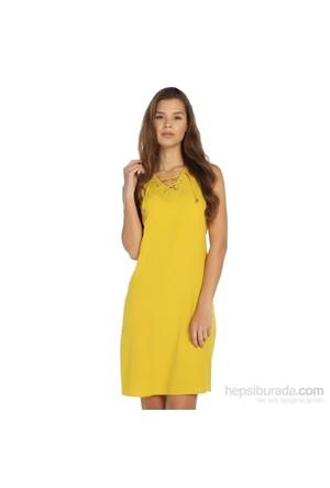 Lir Büyük Beden Sarı Elbise