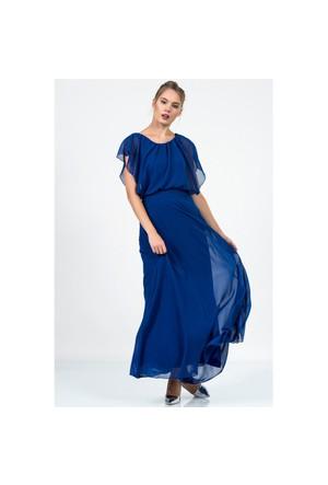 İroni Bohem Şifon Uzun Elbise