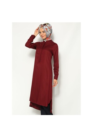 Belmando Uzun Tunik - Bordo - Cml Collection