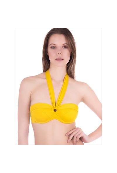 Ayyıldız 63551 Sarı Renk 6 Şekilde Bağlamalı Tek Bikini Üstü