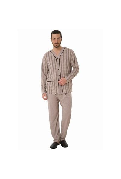 6eb830d99696e Şık Mecit 2412 Erkek Melanj Önden Açık Büyük Boy Pijama Takımı ...