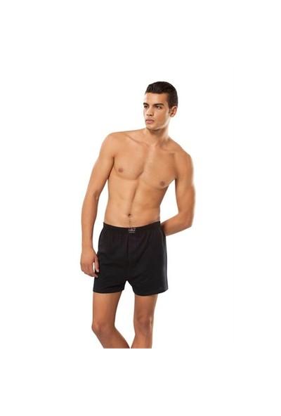 Tutku 6'Lı Paket Erkek Havlu Bel Düğmeli Boxer Siyah