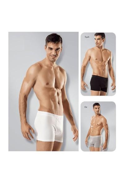 Seher 3'Lü Paket Likralı Pamuk Erkek Boxer Beyaz
