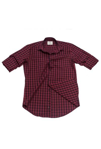 Hombers Kareli Slim Fit Gömlek