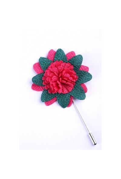 La Pescara Pembe-Yeşil Özel Tasarım Yaka Çiçeği Yc0086