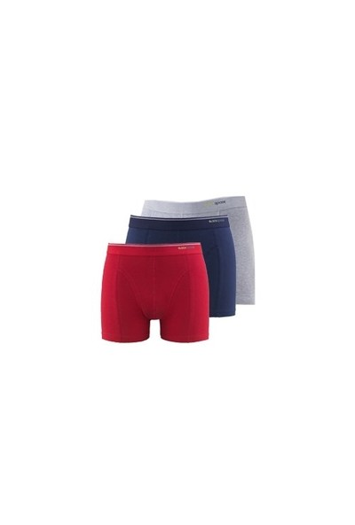 Blackspade Tender Cotton Erkek Boxer 3lü Paket 9673 Lacivert-Kırmızı-Gri Melanj