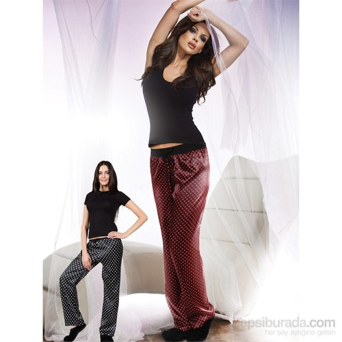 Miorre Saten Pijama Altı Kadın Siyah Kırmızı