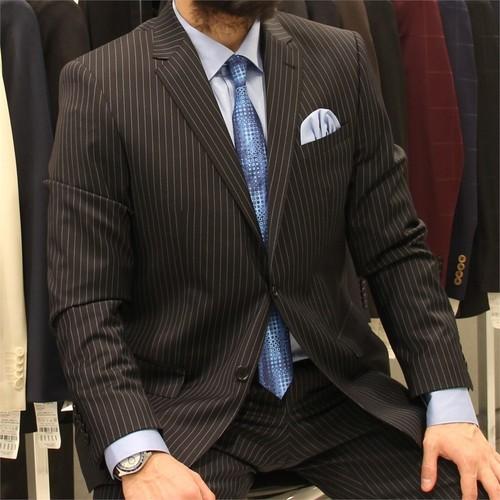 Victor Baron Çizgili Regular Fit Takım Elbise