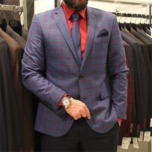 Victor Baron Ekoseli Slim Fit Takım Elbise