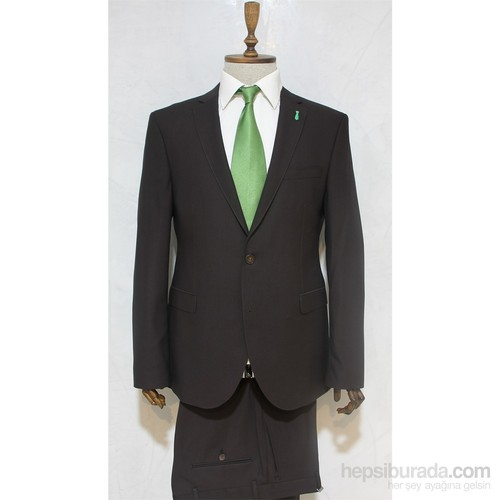 Victor Baron Yeni Sezon Slim Fit Takım Elbise Kahverengi