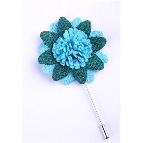 La Pescara Yeşil-Mavi Özel Tasarım Yaka Çiçeği Yc0084