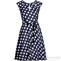 bonprix Mavi Puantiyeli Elbise 34-54 Beden