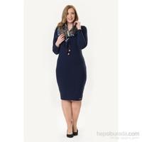 So Sugar Lacivert 3 - 4 Kol Mini Penye Elbise