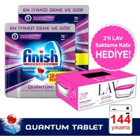 Finish Quantum 72 Tablet Deterjan x 2 Paket + 2'li Lav Saklama Kabı