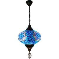 Otantik Osmanlı Dekoratif Mozaik Tek Zincir Askılı Lamba No-6