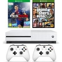 Microsoft Xbox One S 500GB Oyun Konsolu + 2. Beyaz Kol + Pes 2018 + Gta 5