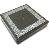 Alara Kalpli Ahşap Çikolata Kutusu - Kare - Gümüş Renk