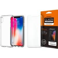 Spigen iPhone X Liquid Crystal Kılıf + Cam Ekran Koruyucu (360 Derece Koruma) Full Cover Paket - 01