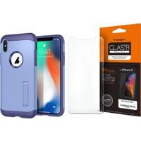 Spigen iPhone X Slim Armor Violet Kılıf + Cam Ekran Koruyucu (360 Derece Koruma) Full Cover Paket - 07
