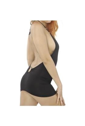 Terry Pau TP120626 Siyah , Metal Halkalı ,seksi Dekolteli Mini Elbise