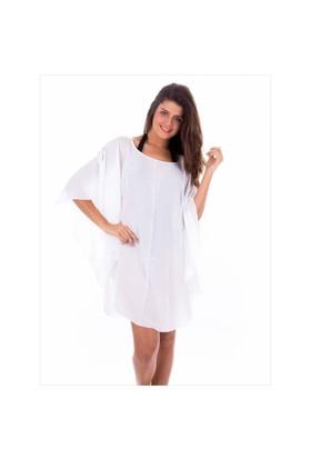 Ayyıldız 12067 Beyaz Plaj Elbisesi
