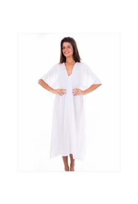 Ayyıldız 12069 Beyaz Uzun Plaj Elbisesi