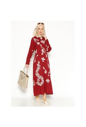 Şile Bezi Baskılı Elbise - Bordo - Çkr