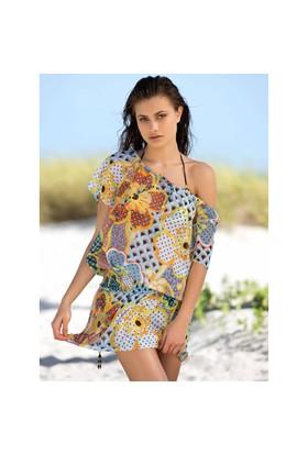 Ayyıldız 12076 Sarı Desenli Plaj Elbisesi Sarı Desenli