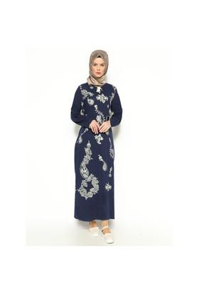 Şile Bezi Baskılı Elbise - Lacivert - Çkr