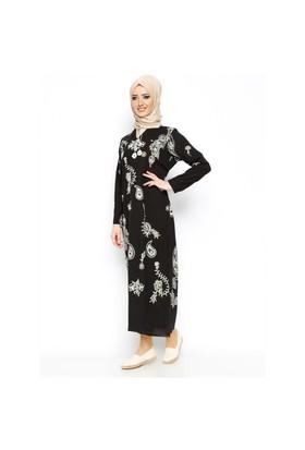 Şile Bezi Baskılı Elbise - Siyah - Çkr